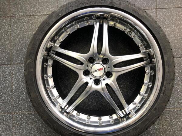Komplektratas 9x20 ET40 5x108 Motec Pantera Hyper Black mit Edelstahlbett 255/35R20 97Y Dunlop SP Sport Maxx J